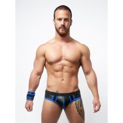 Mister B Neoprene Jock Brief Black Blue jockstrap slip in neoprene con zip