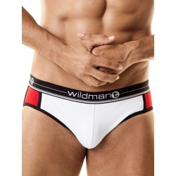 WildmanT Apollo Short Brief with Cock Ring Underwear White Red slip intimo uomo con cockring