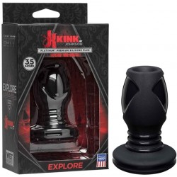 Kink Wet Works Explore (3,5 inch) Premium Silicone Anal Plug Standard Black tunnel plug ass play