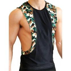 GB2 Arnold Training Muscle Tank Top Black Camo smanicata maglietta
