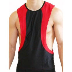 GB2 Arnold Training Muscle Tank Top Black Red canotta smanicata