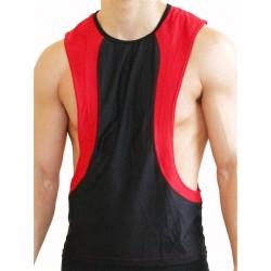 GB2 Arnold Training Muscle Tank Top Black Red smanicata maglietta