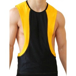 GB2 Arnold Training Muscle Tank Top Black Yellow canotta smanicata