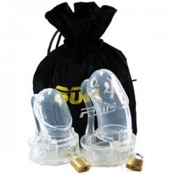 Bon 4 Silicone Chastity Cage Clear Plus S / M + M / L coppia di 2 gabbie di castità pene in silicone