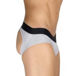 Rounderbum Jock Brief Underwear Grey slip speciale aperto dietro intimo uomo