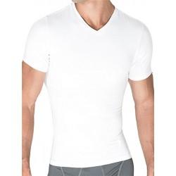 Rounderbum Compression T-Shirt Cotton White t-shirt maglietta collo a V intimo uomo