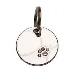 """Dog Tag Silver with Paw targhetta tonda con impronte di """"cucciolo"""""""