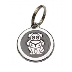 Puppy Dog Tag Black Silver targhetta tonda con cucciolo