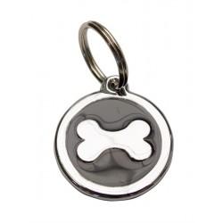 Puppy Dog Tag Black Silver targhetta tonda con osso cucciolo