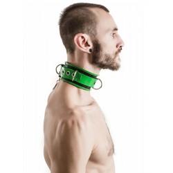 Mister B Rubber Collar Lockable Black Green collare per restrizione regolabile in gomma