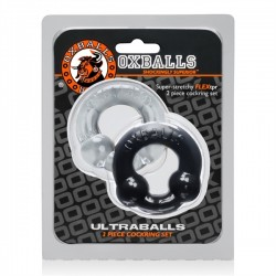 Oxballs Ultraballs 2Pack Cockring Black + Clear coppia di 2 cockring & ballstretcher in TPR estensibile