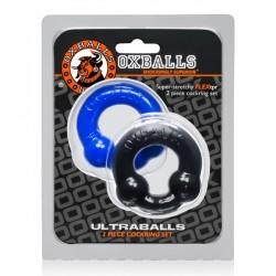 Oxballs Ultraballs 2-Pack Cockring Black + Blue coppia di 2 cockring & ballstretcher