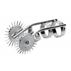 Black Label With Double Pinwheel Medium Ø 22 mm. unghia di gatto acciaio inox con rotelle