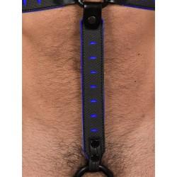 665 Leather NeoFlex Down Strap Neoprene Harness Extension Long Black/Blue aggiunta lunga in neoprene con clips