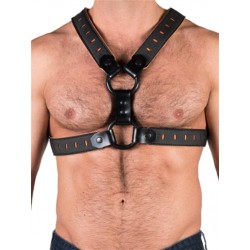 665 Leather NeoFlex Neoprene Harness Black Orange harness in neoprene con clips