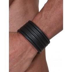 665 Leather Neoprene Wristband Black bracciale per il polso in neoprene
