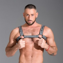 665 Neoprene Bulldog Harness Gray harness in neoprene con clips
