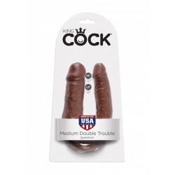 King Cock U Shaped Medium Double Trouble Brown doppio dildo fallo realistico brown