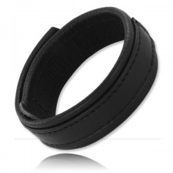 Black Label Velcro Leather Cock Ring 20 mm. Wide anello per il pene