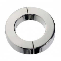 Black Label Magnetic Hinged Cock Ring Polished 40 mm. cockring magnetico in acciaio inox