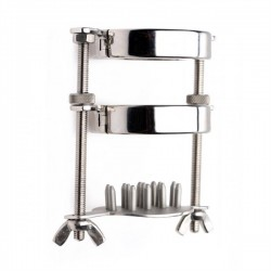 Black Label Ball Stretcher With Spiked Crusher stringe allunga e tortura lo scroto in acciaio inox