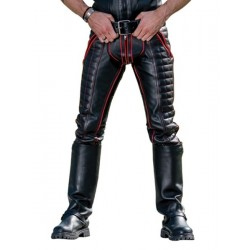 Mister B Leather Indicator Jeans Red Stitching Piping pantaloni leather imbottito in pelle