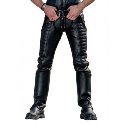 Mister B Leather Indicator Jeans Black Stitching Piping pantaloni leather imbottito in pelle