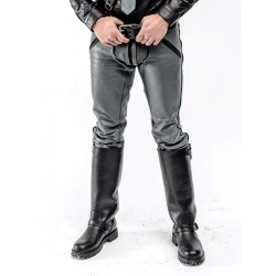 Mister B Leather FXXXer Jeans Grey With Black Piping pantaloni leather in pelle full zip