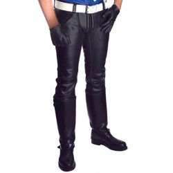 Mister B FXXXer Jeans All Black pantaloni leather in pelle doppia zip