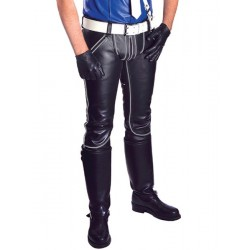 Mister B Leather FXXXer Jeans Black With Grey Piping pantaloni leather in pelle full zip