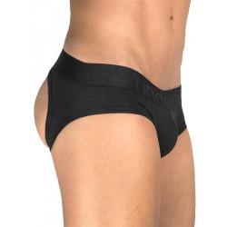 Rounderbum Jock Brief Underwear Black slip speciale aperto dietro intimo uomo