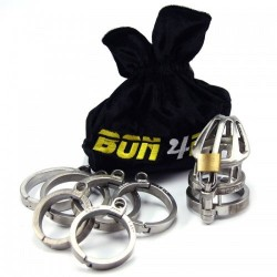 Bon4 Stainless Steel Chastity Cage Small Medium Hinged gabbia di castità pene in acciaio inox