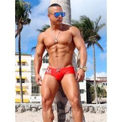 Danny Miami Olympia Trunk Swimwear Red slip costume da bagno a vita bassa