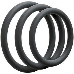 OptiMALE 3 C Ring Set Thin Slate confezione con 3 cockrings sottili in silicone grigio