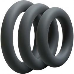 OptiMALE 3 C Ring Set Thick Slate confezione con 3 cockrings spessi in silicone ardesia