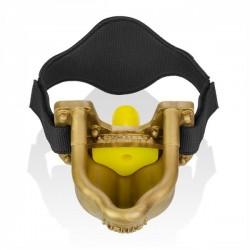Oxballs Urinal Strap on Piss Gag With Yellow Insert Gold orinatoio per ricevere urina in bocca in silicone