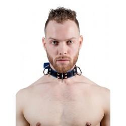 Mister B Leather Slave Collar 4 D Rings Blue collare in pelle regolabile per restrizioni con anelli D