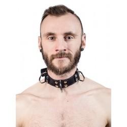 Mister B Leather Slave Collar 4 D Rings Black collare in pelle regolabile per restrizioni con anelli D