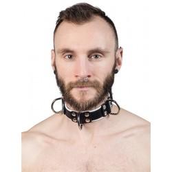 Mister B Leather Slave Collar 4 D Rings White collare in pelle regolabile per restrizioni con anelli D