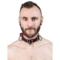 Mister B Leather Slave Collar 4 D Rings Red collare in pelle regolabile per restrizioni con anelli D