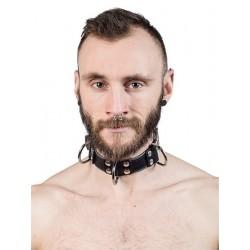 Mister B Leather Slave Collar 4 D Rings Grey collare in pelle regolabile per restrizioni con anelli D