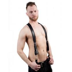 Mister B Combi Harness Black Braces Premium bretelle leather pelle