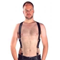 Mister B Combi Harness Braces Basic Black bretelle doppio uso leather pelle