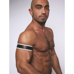 Mister B Leather Biceps Band Black White bracciale per avambraccio leather pelle