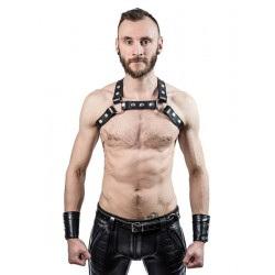 Mister B X Back Harness Black harness X leather pelle