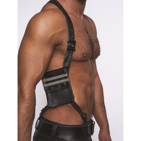 Mister B Leather Wallet Harness Black Grey harness con due portafogli in pelle
