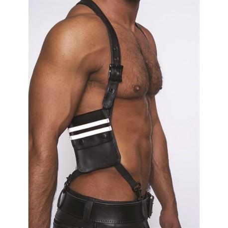 Mister B Leather Wallet Harness Black White harness con due portafogli in pelle