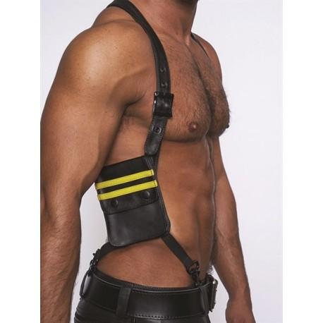 Mister B Leather Wallet Harness Black Yellow harness con due portafogli in pelle