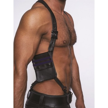 Mister B Leather Wallet Harness Black Blue harness con due portafogli in pelle