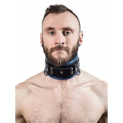 Mister B Leather Slave Collar Blue Padding collare morbido leather pelle per restrizioni